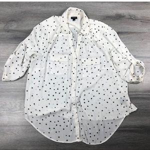 Torrid 1x blouse georgette button down moon print